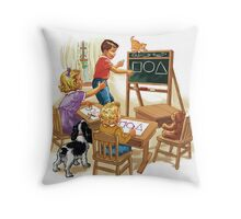 dick and jane play school Throw Pillow