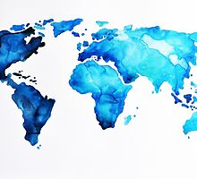 Blue World Map by ArtCornerShop