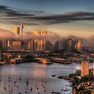Misty- Sydney Harbour &amp; Skyline - The HDR Experience by Philip Johnson