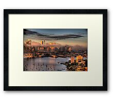 Misty- Sydney Harbour & Skyline - The HDR Experience Framed Print