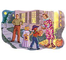 Dick and Jane Halloween Photographic Print