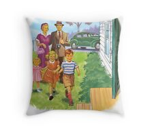 Dick and Jane Family Throw Pillow