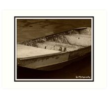 Dingy at the Battleship Art Print