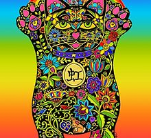 Maneki Neko Rainbow Black Cat by ArtHarmony