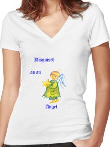 Disguised As An Angel Women's Fitted V-Neck T-Shirt