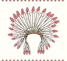 Hand drawn native american indian chief headdress by BlueLela