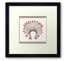 Hand drawn native american indian chief headdress Framed Print