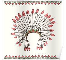Hand drawn native american indian chief headdress Poster