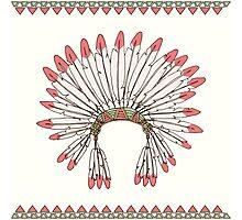 Hand drawn native american indian chief headdress Photographic Print