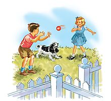 Dick and Jane pLay Ball Photographic Print