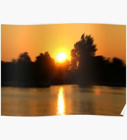 Zoomed Sunset - Alexandria Bay, New York, USA Poster