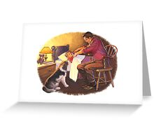 father and son with dog Greeting Card