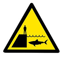 Danger Sharks Sign Photographic Print