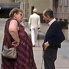 Man in white  Manhattan New York by milton ginos