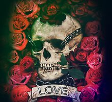 Skull, love, chains and roses by dopebubble