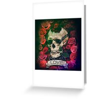 Skull, love, chains and roses Greeting Card