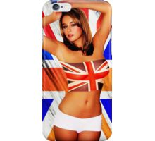 Hot girl and flag of UK iPhone Case/Skin