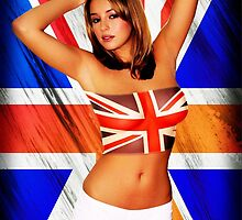 Hot girl and flag of UK by dopebubble