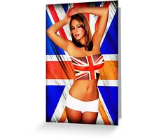 Hot girl and flag of UK Greeting Card