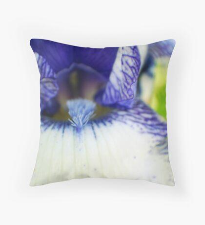 blue and white iris  Throw Pillow