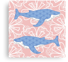flower whale Canvas Print