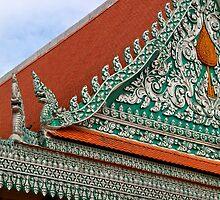 Wat Ounalom Roof - Phnom Penh, Cambodia. by Tiffany Lenoir