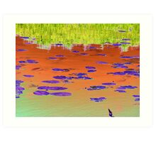 Lilly Pads on the river water latered image Art Print