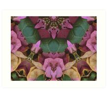 Funny faces in the flowers, altered image Art Print