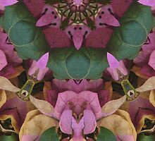 Funny faces in the flowers, altered image by hotpotato