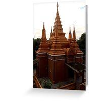 Sunset on the Wat - Phnom Penh, Cambodia. Greeting Card
