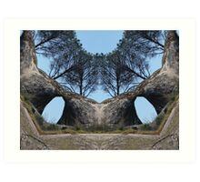 Trees and Rocks, altered image Art Print