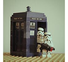 Lego TARDIS with Stormtroopers Photographic Print