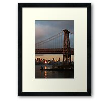 Williamsburg Bridge Sunset, Brooklyn, New York Framed Print