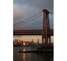 Williamsburg Bridge Sunset, Brooklyn, New York Photographic Print