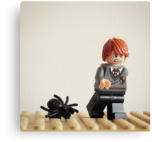 Lego Ron running from Spiders Canvas Print