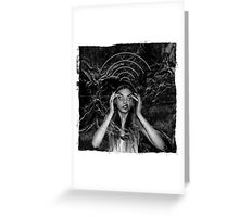Insane girl searching for wifi on the moon Greeting Card