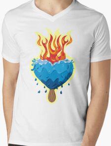 Heart of Ice burning in flames Mens V-Neck T-Shirt