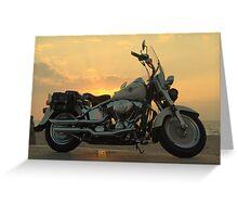 Harley Davidson Sunset Greeting Card