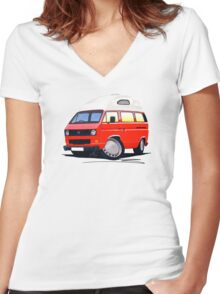 VW T25 / T3 (High Top) Red Women's Fitted V-Neck T-Shirt