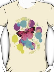 girly cute colorful paint splash pink butterfly T-Shirt