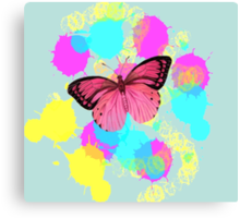girly cute colorful paint splash pink butterfly Canvas Print