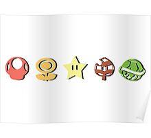 Coloured Mario Items (shadow) Poster