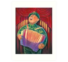 accordian player Art Print