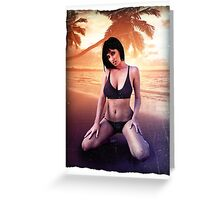 The beach and a girl palms ocean relax swim Greeting Card