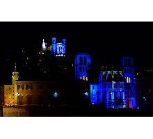 basilica of Fourviere and cathedral St Jean, Lyon, france Photographic Print