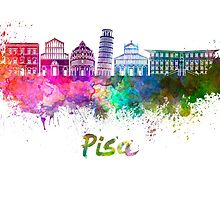 Pisa skyline in watercolor by paulrommer