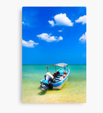 Unknown Horizons - Little Boat in the Gulf of Mexico Canvas Print