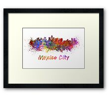 Mexico City skyline in watercolor Framed Print
