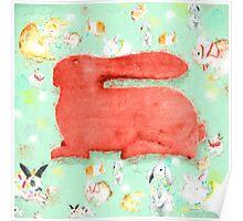 Storybook Rabbit - green [Gary Guthrie] Poster