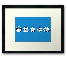 White mario items (with shadow) Framed Print